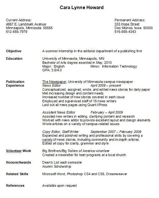 College resumes examples