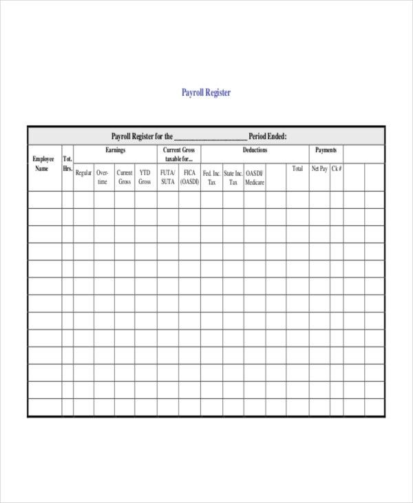 Payroll Register Template - 7+ Free Word, Excel, PDF Document ...