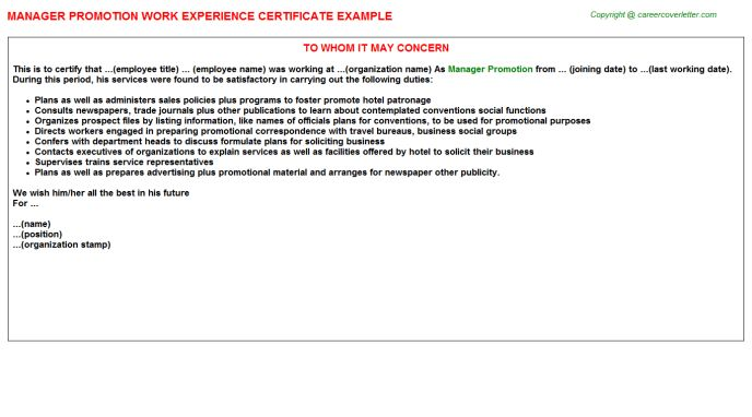Manager Promotion Work Experience Certificate