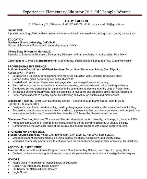 Elementary Teacher Resume Examples. Teacher Resume Examples 2016 ...