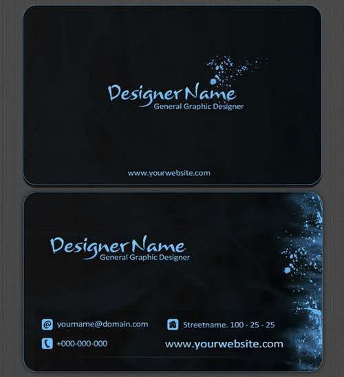 60+ Absolutely Free Dark and Black Business Card Templates | Ginva
