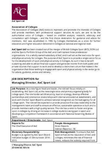 Managing Director Job Description. Jd0088_Aoc Sport Managing ...