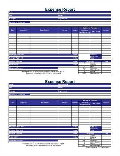 Free Small Detailed Contractor Expense Report from Formville