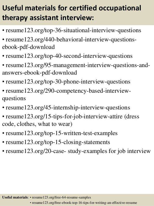 occupational therapy sample resume