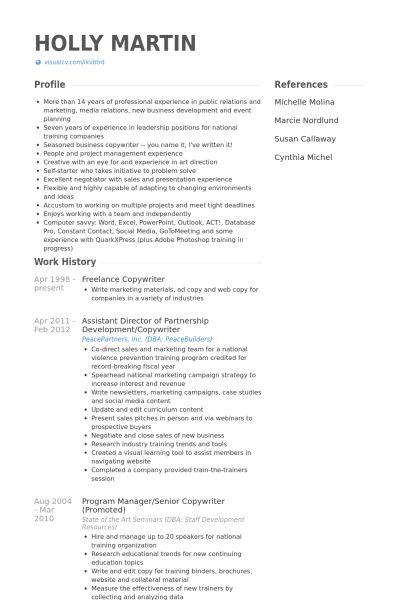 Freelance Copywriter Resume samples - VisualCV resume samples database