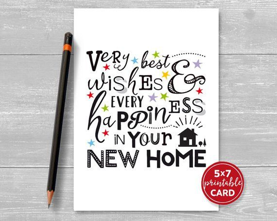 Printable New Home Card Very Best Wishes & by TheLittleRedCherry ...
