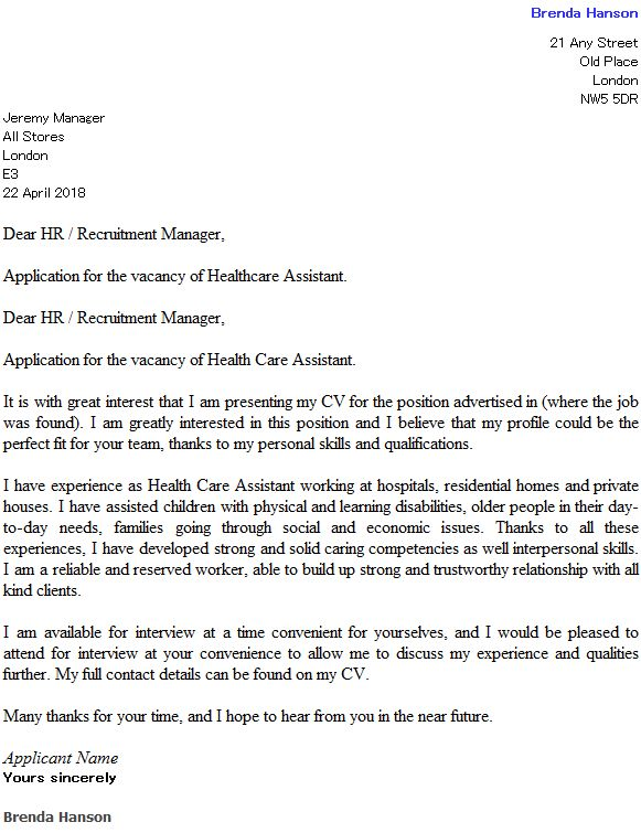 Health Care Assistant Cover Letter Example - icover.org.uk
