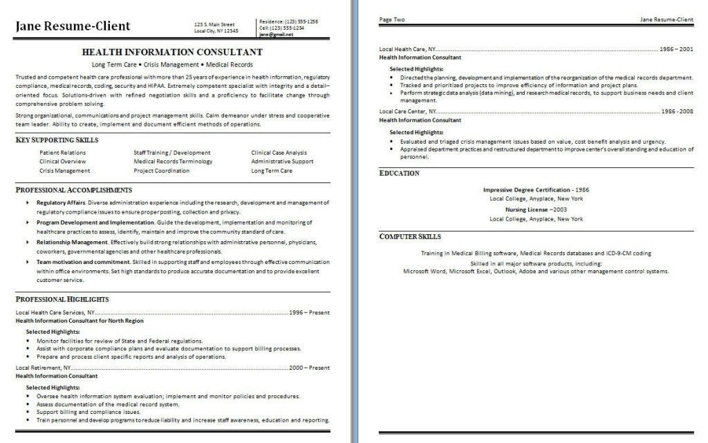 Health Information Management Resume - Template Examples