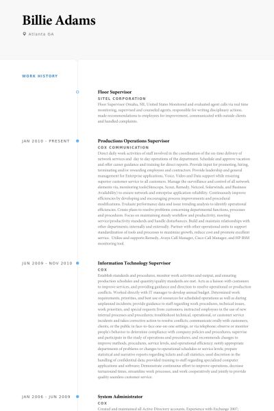 Floor Supervisor Resume samples - VisualCV resume samples database