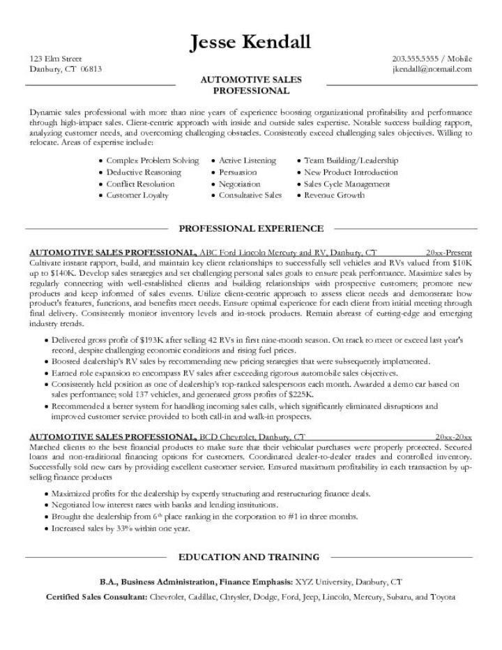 Car Salesman Resume Sample 2