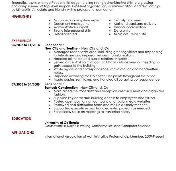 Classy Inspiration Receptionist Resume Examples 1 Unforgettable To ...