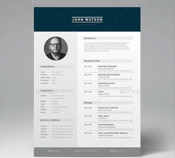 resume indesign template 20 beautiful free resume templates for