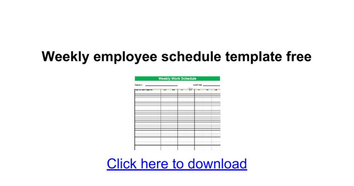 Weekly employee schedule template free - Google Docs