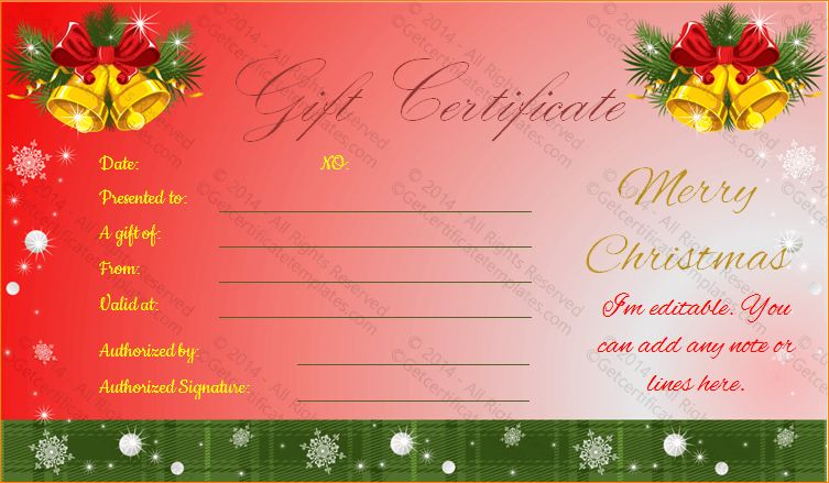 4+ christmas gift certificate template | Outline Templates
