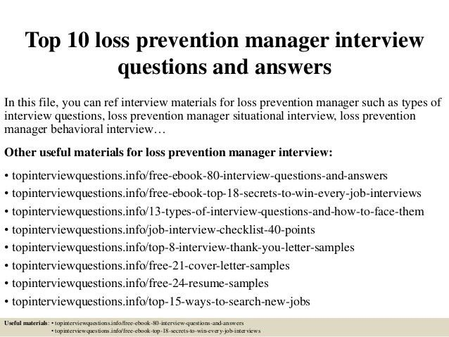 Loss Prevention Manager Resumes