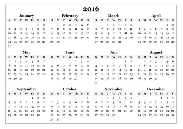 2016 Yearly Calendar Template 08 - Free Printable Templates