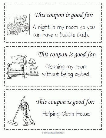 This free printable coupon book for kids to give to Mom on ...