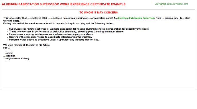 Aluminum Fabrication Supervisor Work Experience Certificate