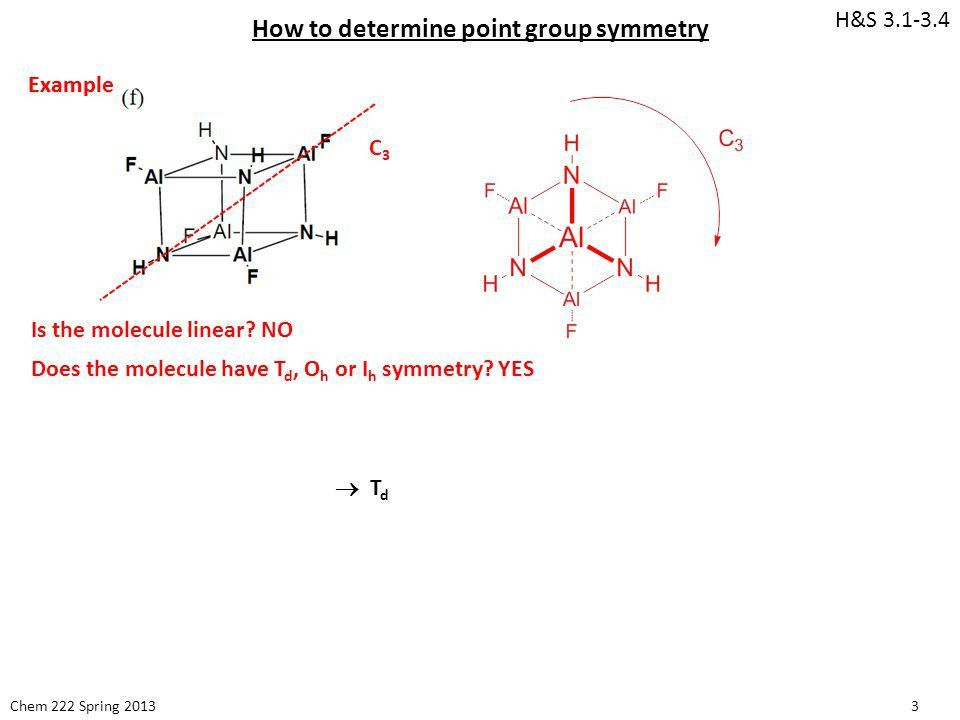 Chem 222 Spring How to determine point group symmetry H&S Example ...