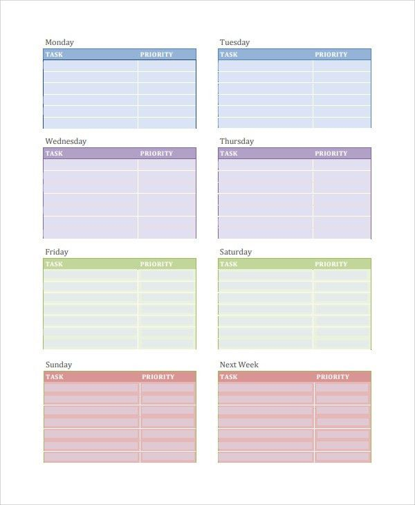 Sample Daily Task Template - 7+ Free Documents Download in PDF