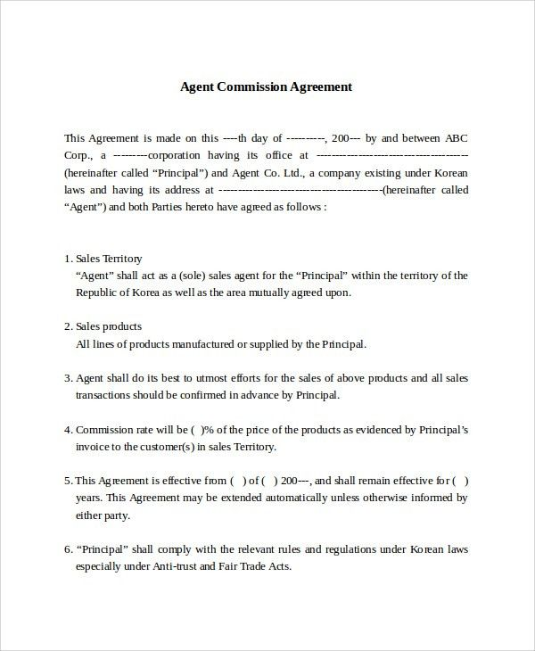 Commission Contract Template. Service Agreement Draft Doc ...