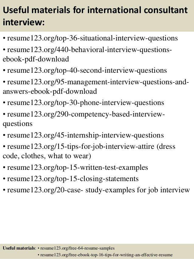 Top 8 international consultant resume samples