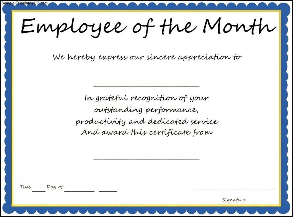 Award Templates Employee Of The Month Certificate Template Sample ...