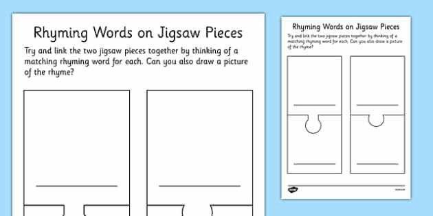 Rhyming Words Jigsaw Pieces Blank Template - rhyming words