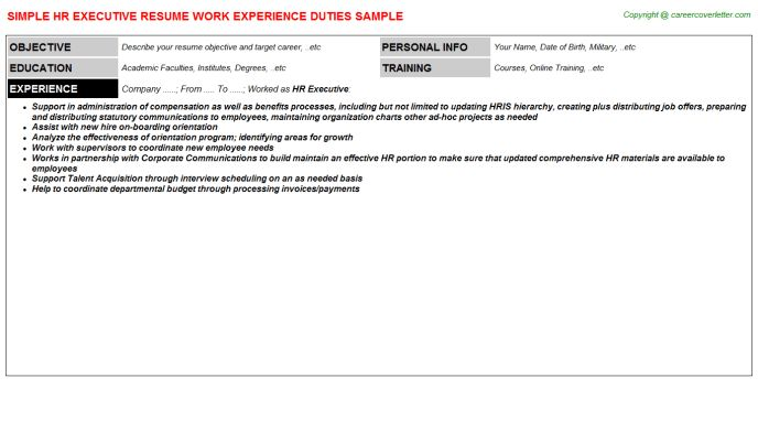 HR Executive Job Title Docs