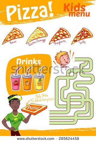 Kids Menu Fastfood Game Pizza Menu Stock Vector 417203542 ...