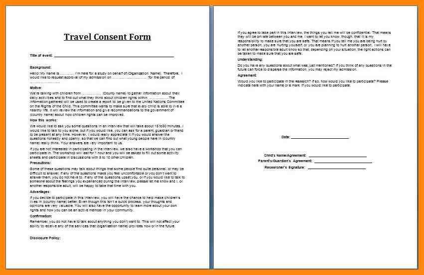 Parental Travel Consent | Howto.billybullock.us