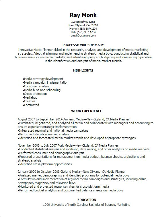 Professional Media Planner Resume Templates to Showcase Your ...