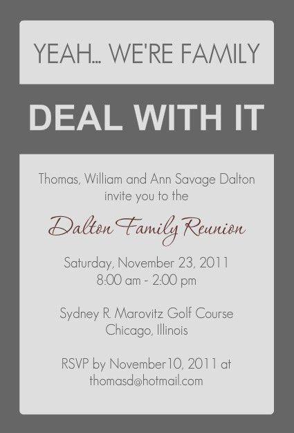Funny Family Reunion Invitation by PurpleTrail.com | Invitations ...