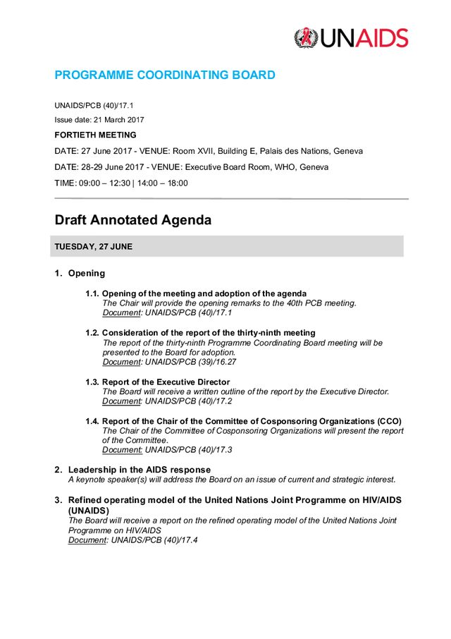Draft annotated agenda for the 40th PCB Meeting – The NGO ...