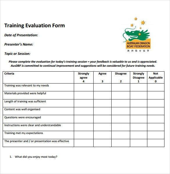 Sample Training Evaluation Form Example. Driver Training ...