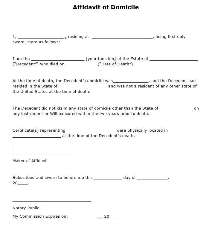 Free Affidavit of Domicile Form | PDF Template | Form Download