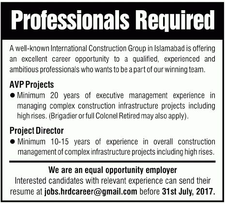 AVP Projects, Projects Manager Jobs In Islamabad 17 Jul 2017