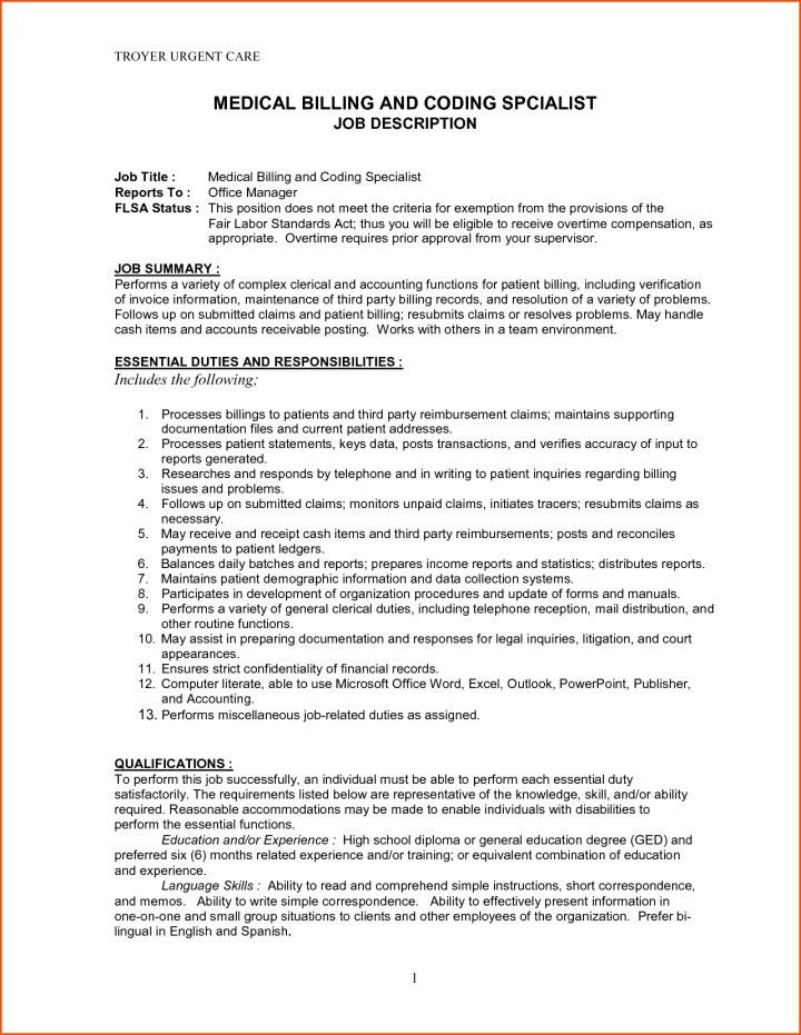 download medical billing and coding resume. medical billing and ...