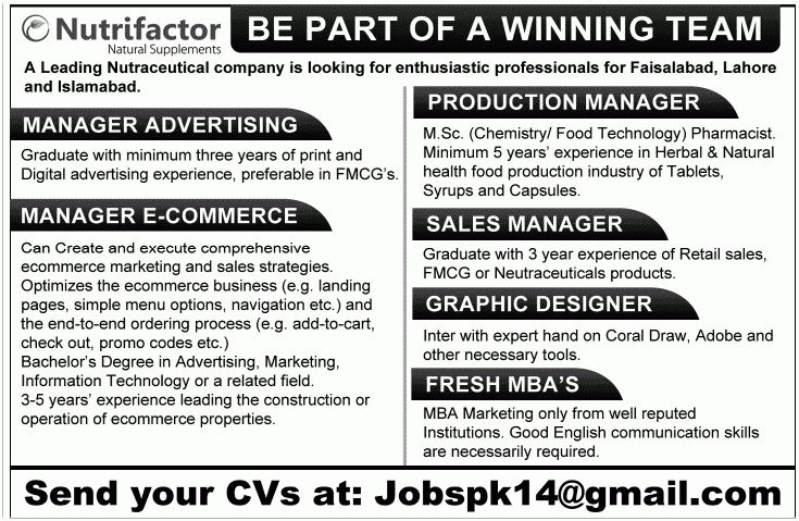 Manager E-Commerce Job, Nutrifactor Natural Supplements Job ...