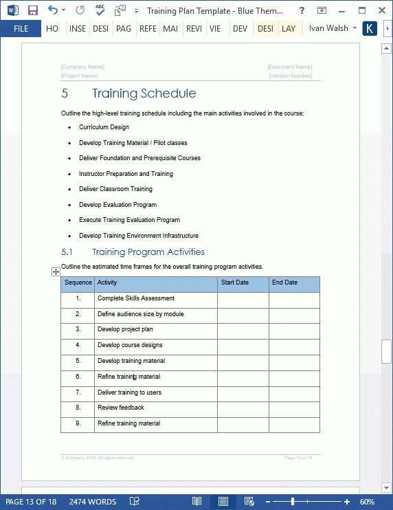 Training Plan Template - 20 page Word & 14 Excel forms