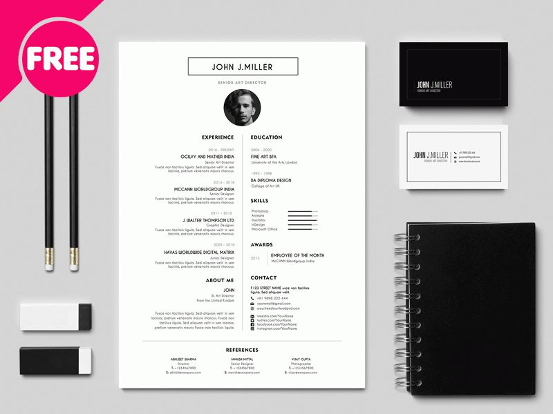 Best Free Resume/CV Template by Free Download PSD - Dribbble