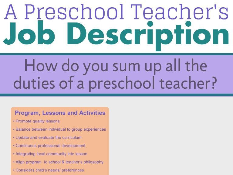 Preschool teacher's job description