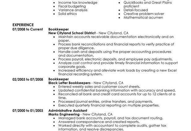bookkeeper resume unforgettable bookkeeper resume examples to