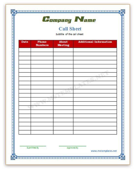 Sales Sheet Template. Call-Sheet-Template Jpg Call Sheet Template ...