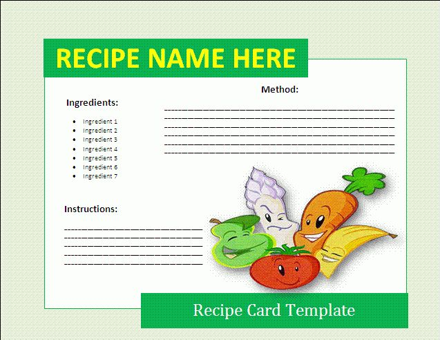 8+ free recipe card templates | Itinerary Template Sample