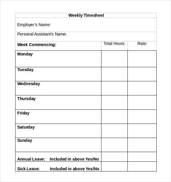 13+ Simple Timesheet Templates – Free Sample, Example Format ...