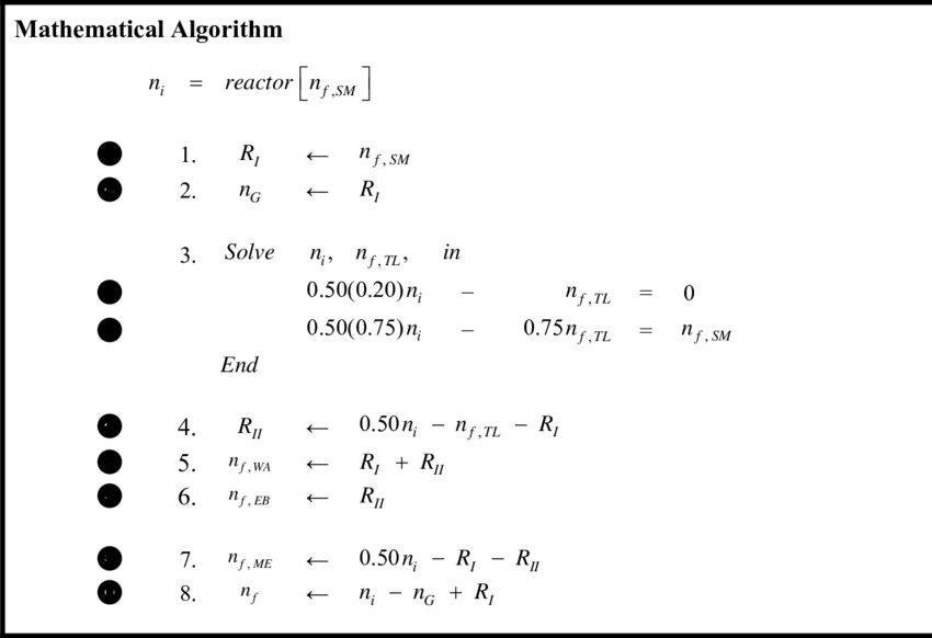 Mathematical Algorithm for the Example Problem of a Semi-Batch ...