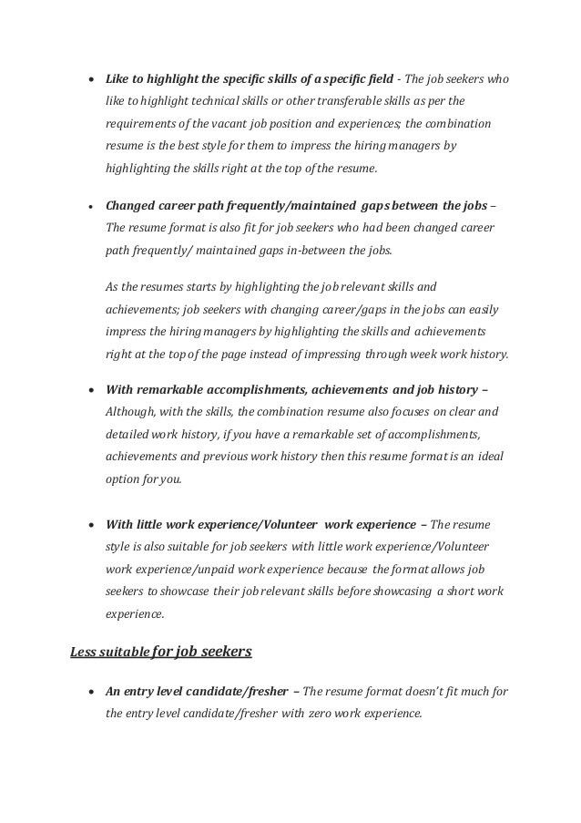 resume combination format combinationresumetemplategif 1gif the