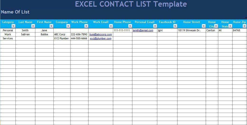 Excel Phone List Template Address And Phone List Office Templates – Phone Contact List Template