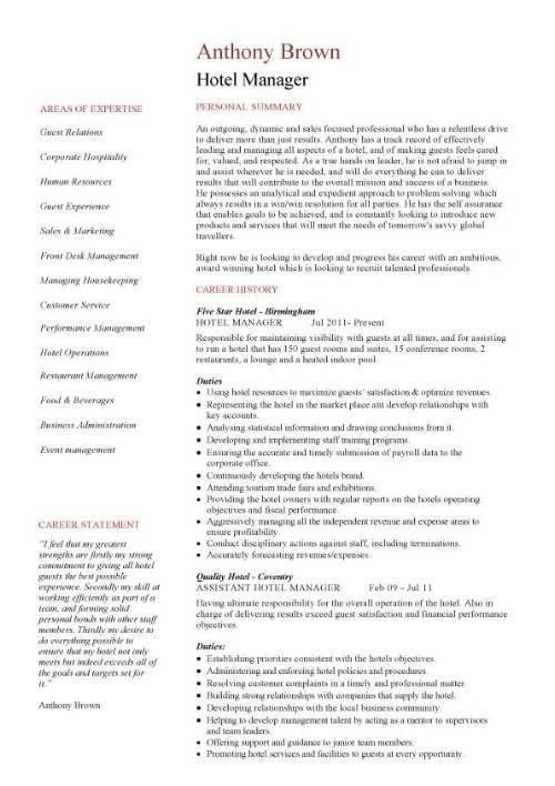 Hotel manager CV template, job description, CV example, resume ...